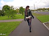 Flashing, Ass, Legs, Leather, Fetish, Pantyhose, Public, Clothed, Shoes, Heels, Outdoor, Leggings