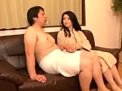 Not daughter, Mommy, Old and young, Mature, Masturbation, Blowjob, Asian, Mother-in-law, Husband, Tits, Small tits, Fingering, Japanese