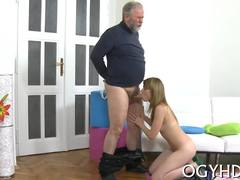 Old and young, Russian, Fat, Old, Amateurs, Blowjob, Teen, Hardcore, Sucking