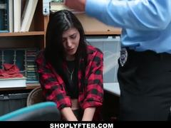 Cumshot, Group, Caught, Burglar, Police, Office, Small tits, 3 some, At work, Shop, Blackmailed, Teen, Brunette, Cock
