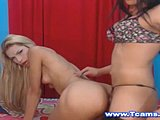 Blonde sluts enjoy riding the massvie sausages